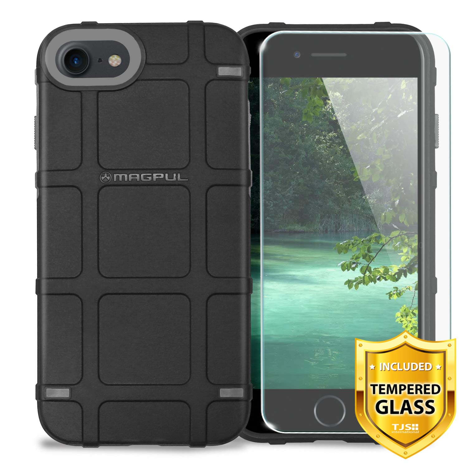 Case for Apple iPhone 7/iPhone 8 4.7'' inch, with [TJS Tempered Glass Screen Protector] Magpul Industries Bump MAG989-BLK Polymer Case Cover Retail Packaging (Black)