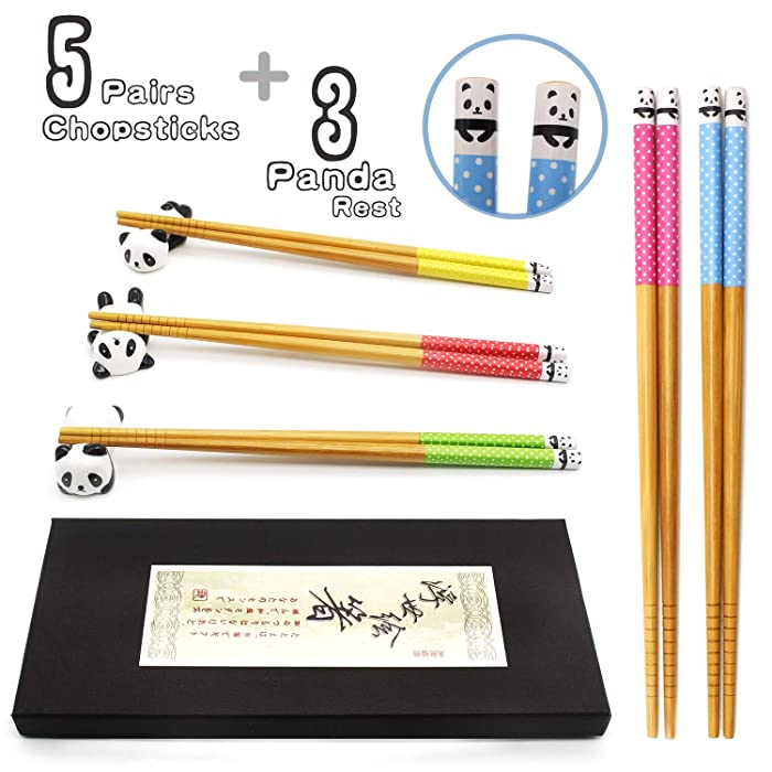 5 Pairs Chopsticks and Chopstick Rest Set, Cute Panda Chopsticks Holder 3 Pcs, Classic Japanese Style Bamboo Natural Reusable Chopsticks, Dishwasher - Safe, Chopsticks Holder Gift Set (Panda)