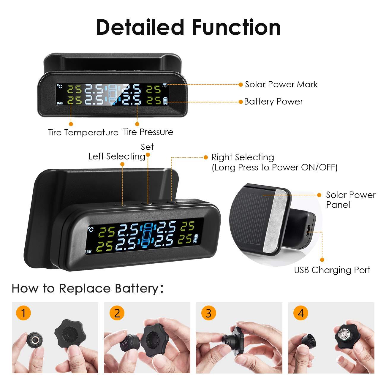 5Bar//14.5-72PSI 4 Sensori Esterni Monitor Pneumatici con Display LCD Favoto TPMS Sistema Controllo di Pressione Pneumatici per Auto 1 Possibile di Essere Installato sulla Parabrezza