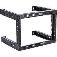 Kenuco 6U Adjustable Depth Wall Mount Open Frame Steel Network Equipment Rack 17.75 Inch Deep