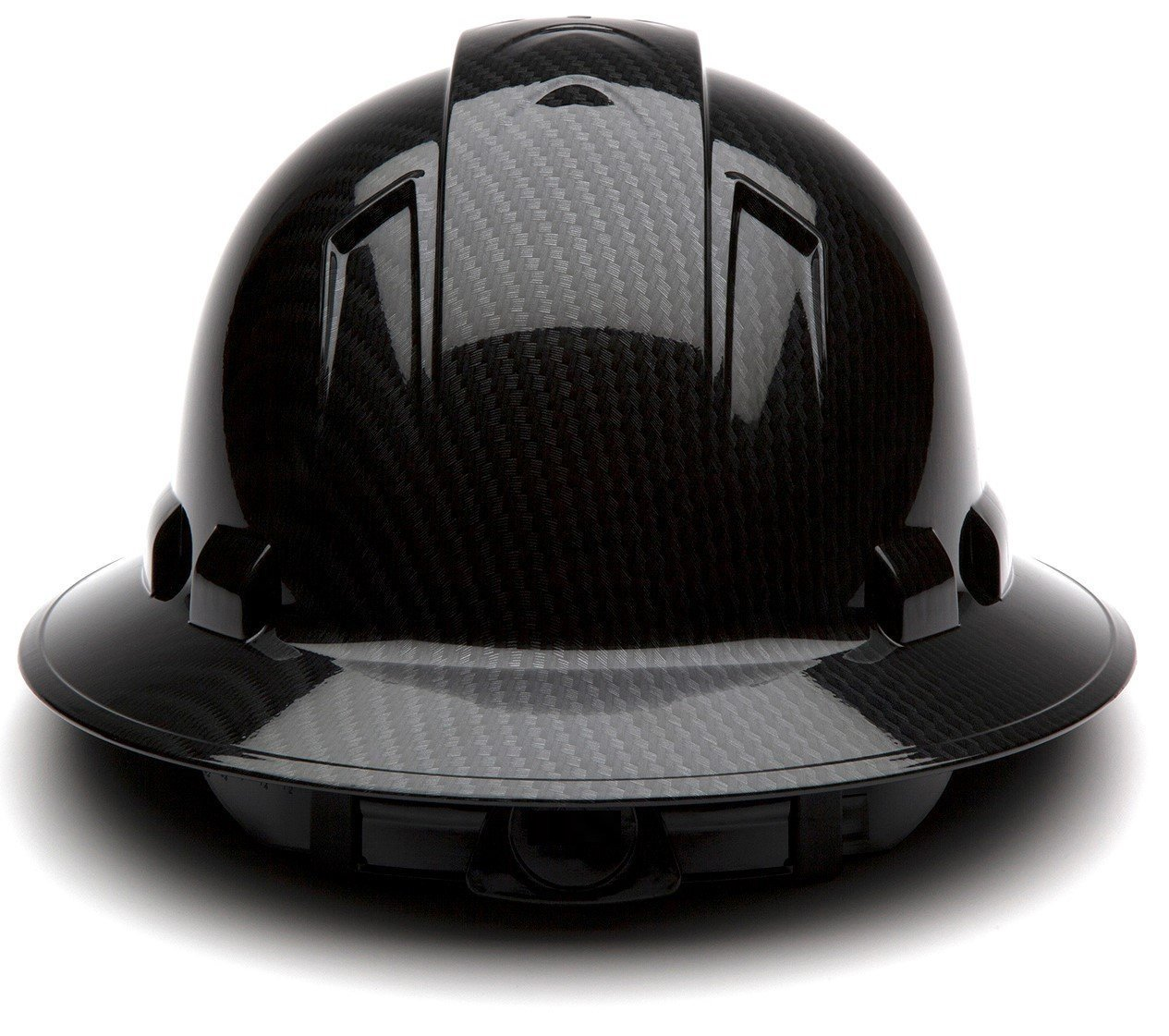 Pyramex Full Brim Hard Hat with Standard Ratchet Suspension Color Shiny Black by Pyramex (Image #3)