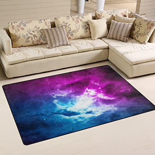 WOZO Space Nebula Galaxy Area Rug Rugs Non-Slip Floor Mat Doormats Living Dining Room Bedroom Dorm 60 x 39 inches inches Home Decor