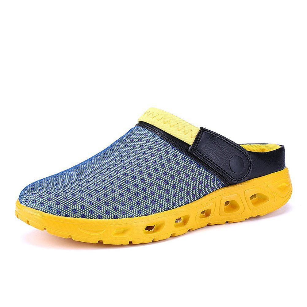 CCZZ Men's and Women's Summer Breathable Mesh Beach Sandals Slippers Quick Drying Water Shoes Amphibious Slip On Garden Shoes B07BW3JVMN US 11=EU 46|Blue Yellow