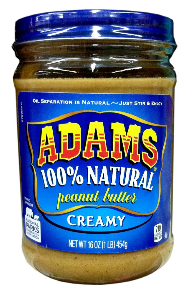 Adams Natural Creamy Peanut Butter, 16 oz (2 Pack) by Adams