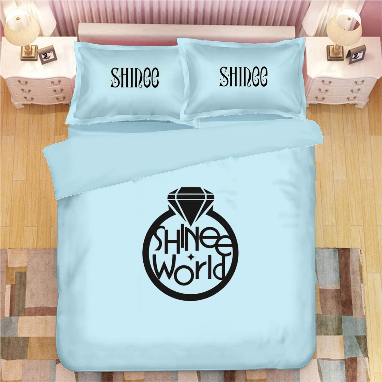 Dolpind Kpop BTS Blackpink NCT 127 SuperM TXT Astro GOT7 IKON Monsta X ATEEZ Sheets Bedding Set Cotton 3Pcs for Quilt Cover Pillow Case