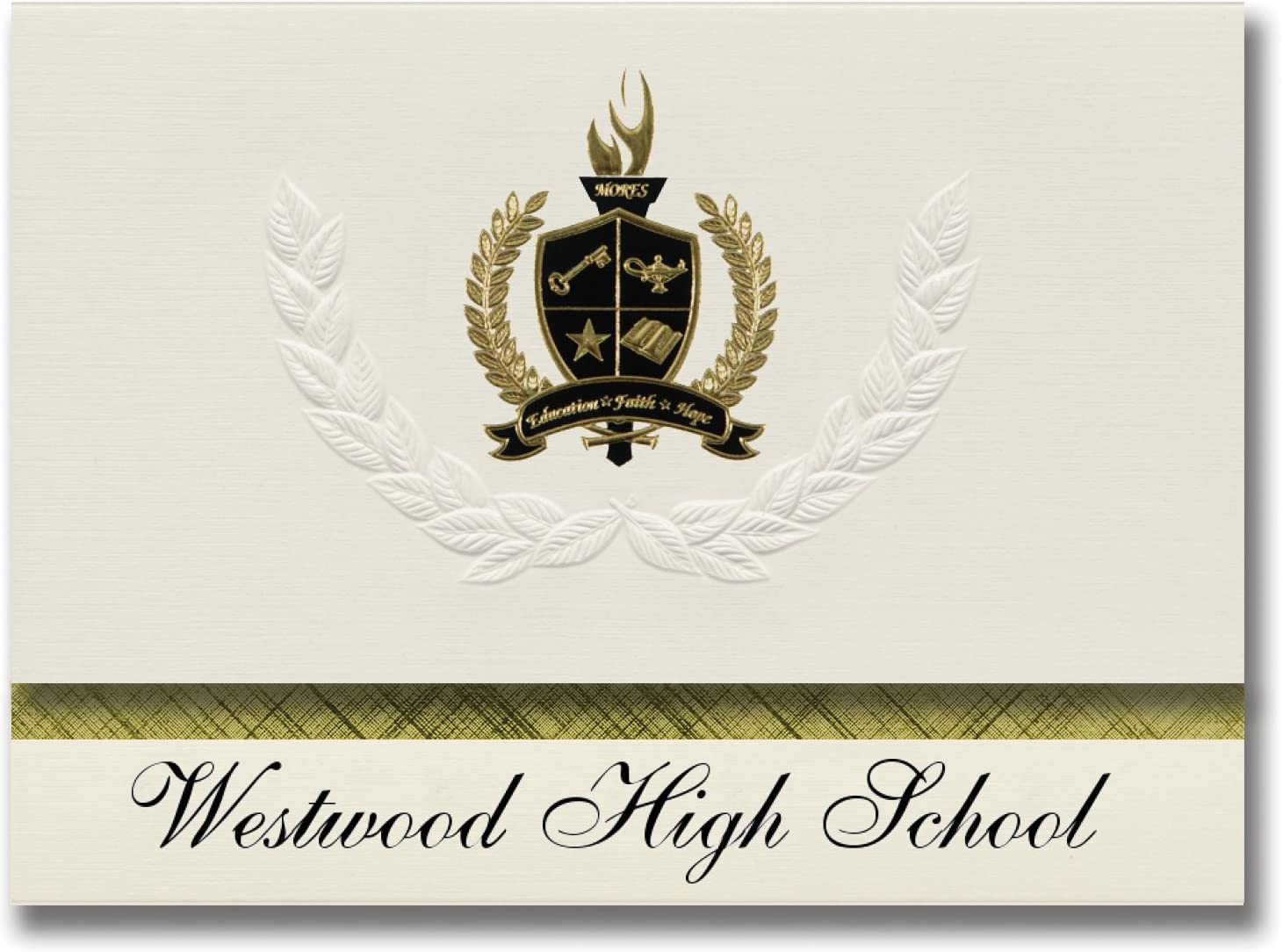 Signature Announcements Westwood High School (Gillette, WY) Graduation Announcements, Presidential style, Basic package of 25 with Gold & Black Metallic Foil seal