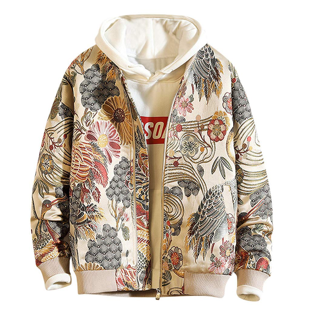 Allywit-Mens Autumn Winter Embroidery Retro Print Jacket Uniform Zipper Outwear Coat Top Blouse Plus Size White