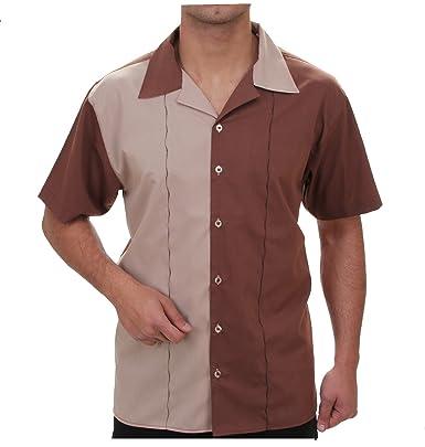 f8eb470bda1b Bowling Hemd in Beige braun, für Herren Beste QUALITÄT, HK Mandel  Stylisches Hemd