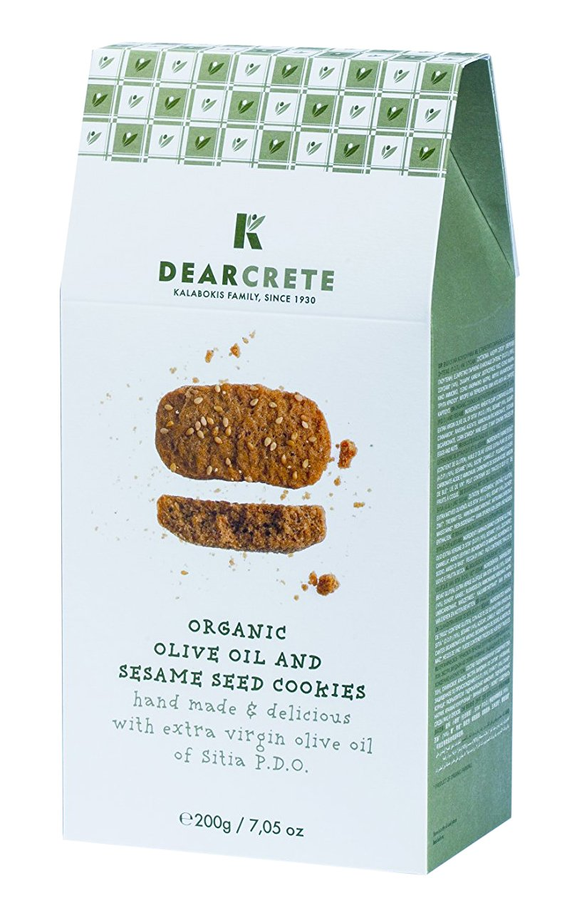 DEAR CRETE Organic Cookies, Olive Oil and Sesame Seed, 200 Gram (Pack of 12)