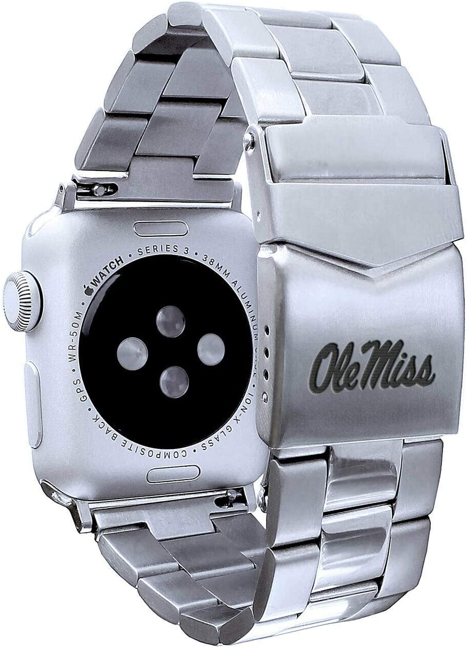AFFINITY BANDS Mississippi Ole Miss Rebels Stainless Steel Link Style Watch Band Compatible with Apple Watch - 38/40mm