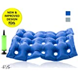 """Premium Air Inflatable Seat Cushion 17"""" X 17"""" Heat Sealed Construction for Durability, Air Seat Cushion for Wheel Chair and Day to day use . Ideal for Prolonged Sitting .FDA Approved (Blue)"""