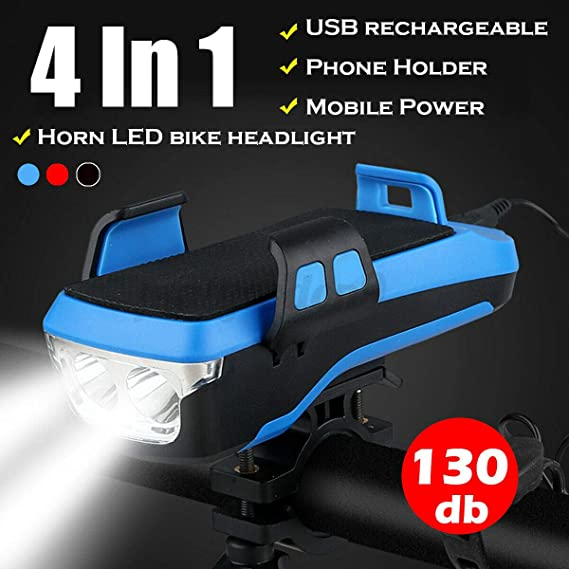 4in1 Bicycle Horn Headlight Phone Holder Bike Head Light Front Lamp Cycling NEW