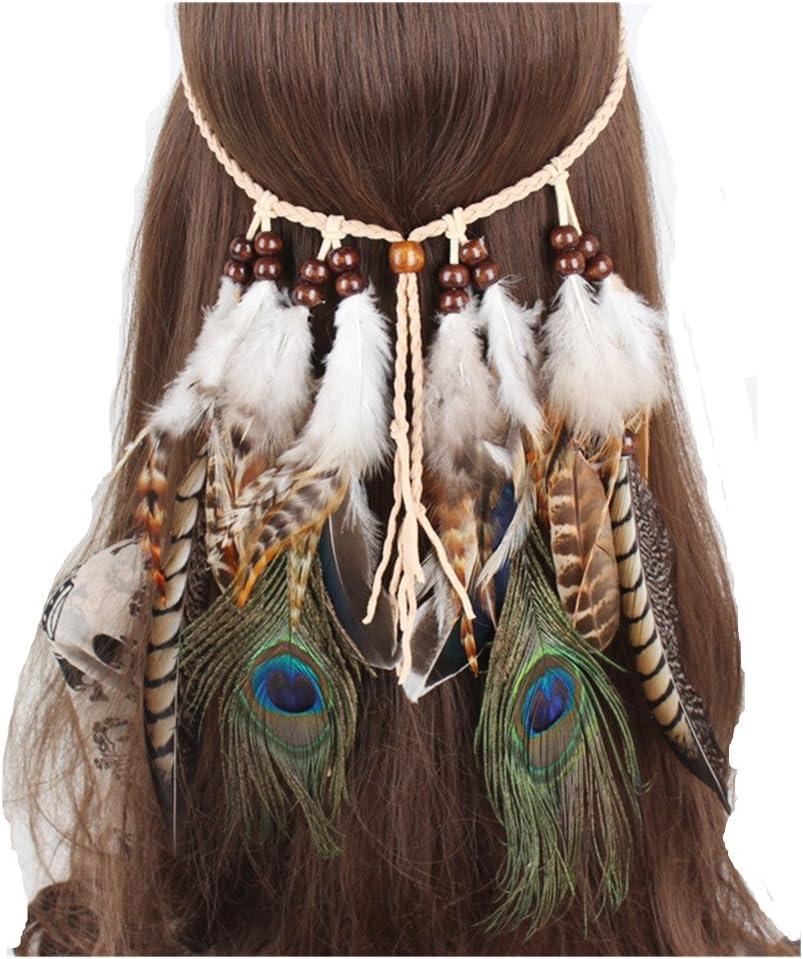 Frauen Mädchen Boho Indian Federschmuck Hippie Stirnband Haarschmuck