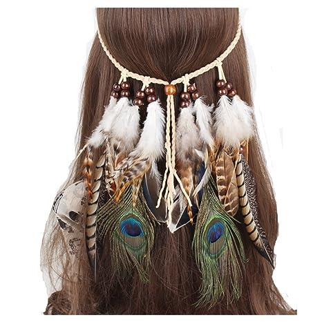 Diadema de plumas indias hippie boho bohemio borla toalla ajustable diadema para mujeres niñas novia pelo
