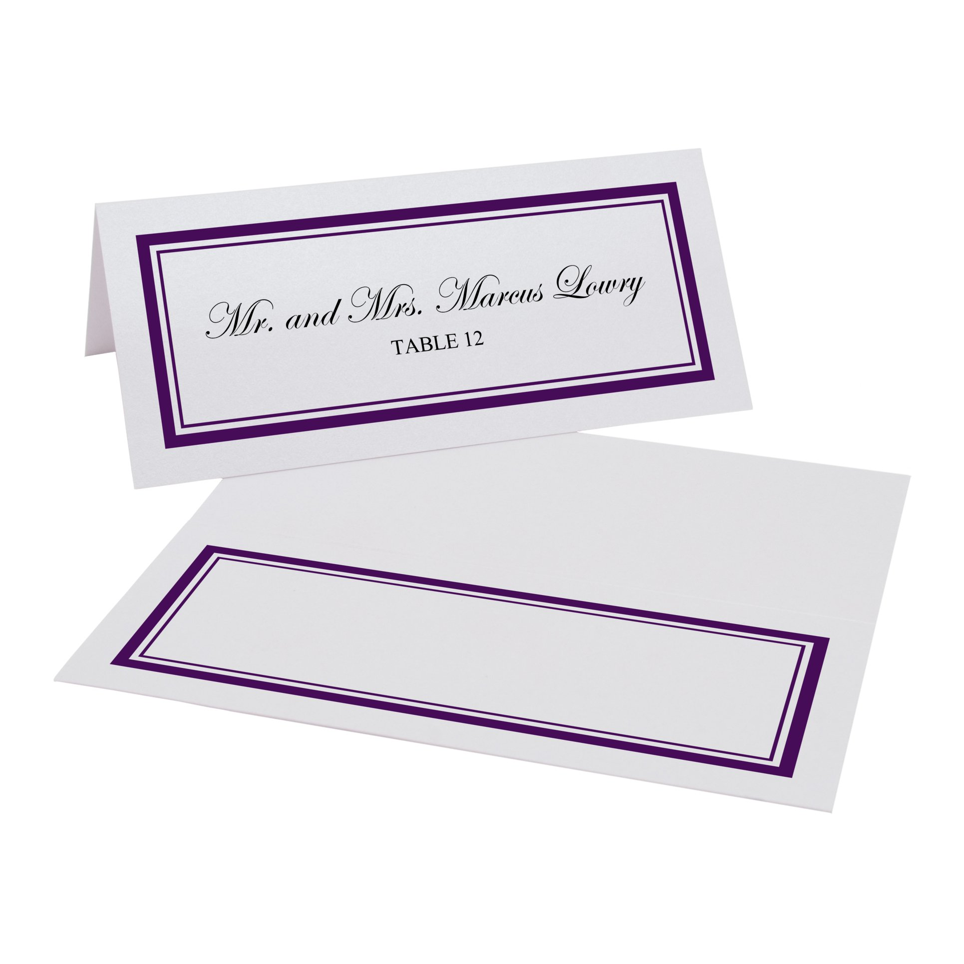 Double Line Border Easy Print Place Cards, Pearl White, Eggplant, Set of 450 (113 Sheets) by Documents and Designs