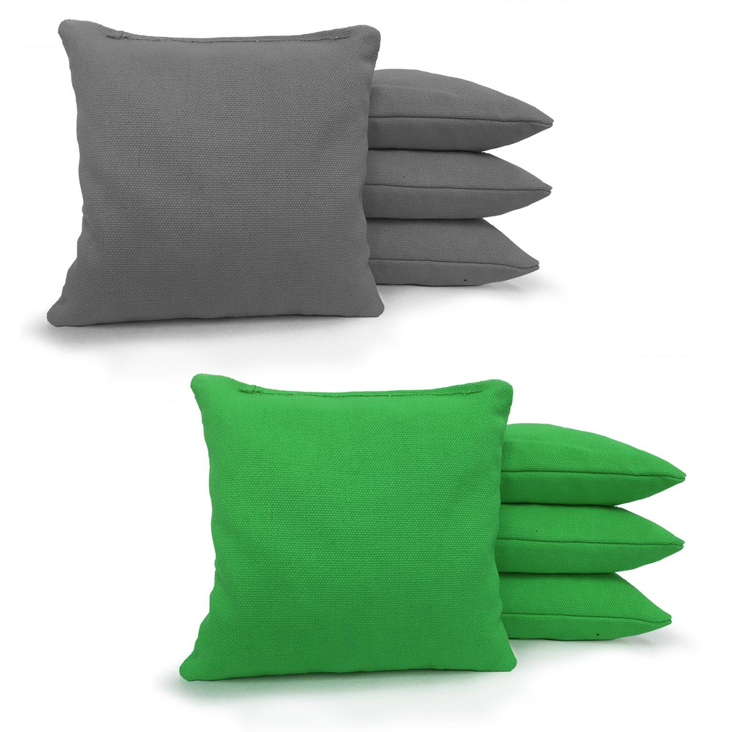 Johnson Enterprises, LLC 8 Standard Corn Filled Regulation Duck Cloth Cornhole Bags 17 Colors Available (You Pick)!! (Grey/Kelly Green) by Johnson Enterprises, LLC