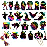 Mocossmy Halloween Scratch Artcards Set for Kids - Halloween Scratch Paper Art Kit with Scratch Stick,Craft Art Pack Magic Sc