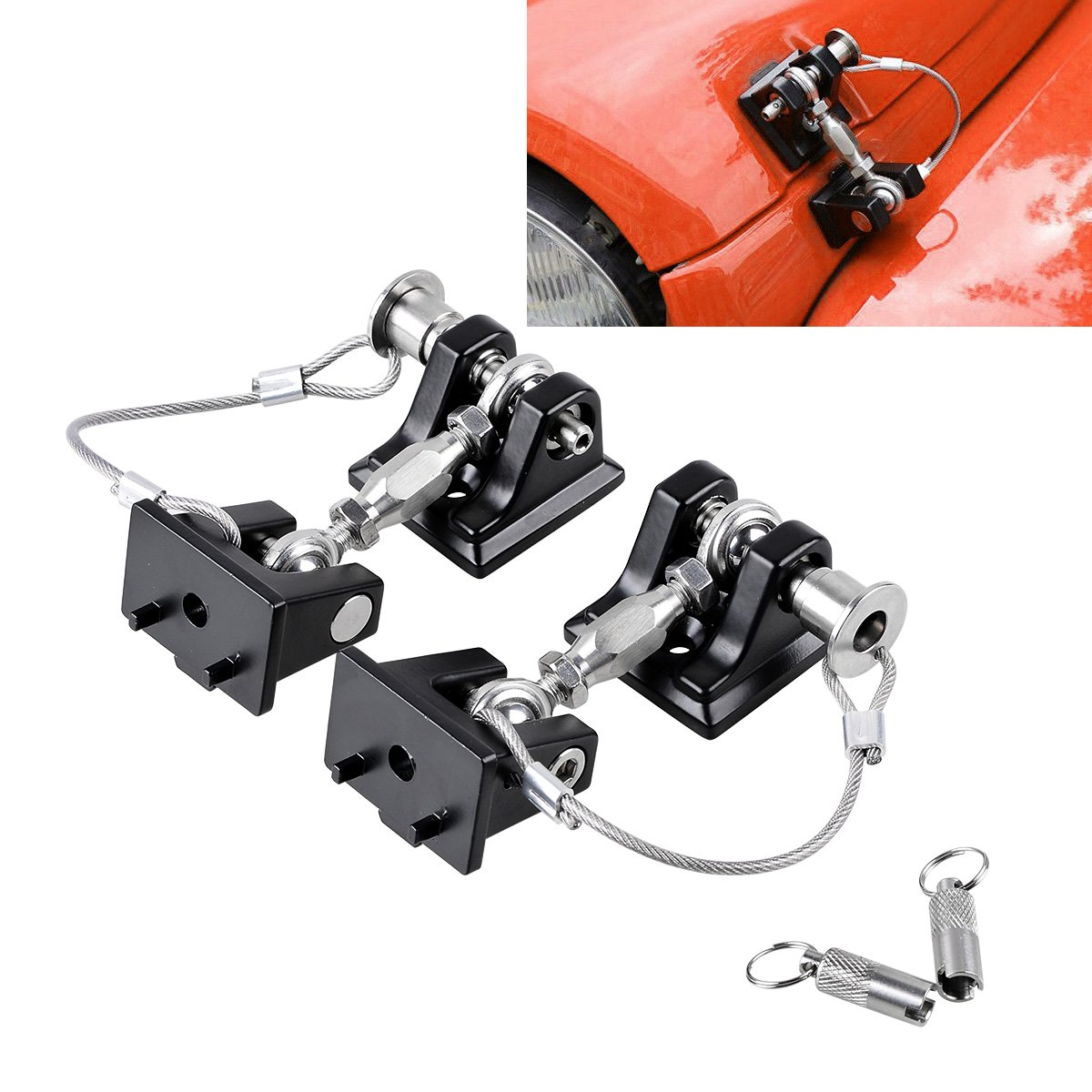 Astra Depot Set Stainless Steel Buckle Locking Hood Catch Latches Pads Keys Compatible for 2007-2017 Jeep Wrangler JK JKU Vehicle