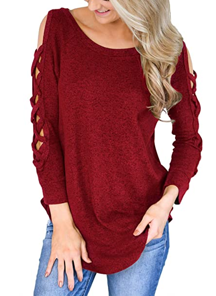 e3f5974a7002a5 Jarycorn Women Cut Out Long Sleeve Loose Blouse Cross Cold Shoulder Shirt  Tops Red Large
