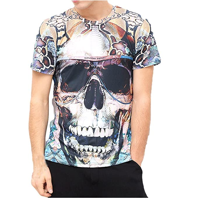 Camisetas Calaveras Hombre Casuales LHWY, Camisetas De Cuello Redondo con Estampado De 3D Camisetas Talla