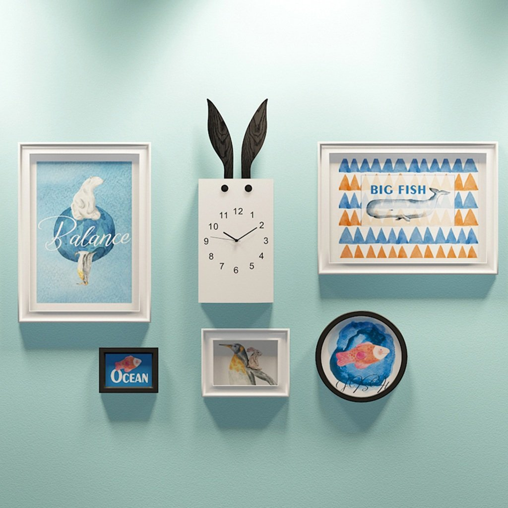ALUS- 5 Multi Photo Frames Set Nordic Style Bedroom Restaurant Children's Room Wall Photo Picture Wall Frame ( Color : A )