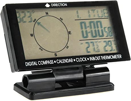 Car Digital Compass With Calendar Function Clock In//Out Thermometer GBP Luminous