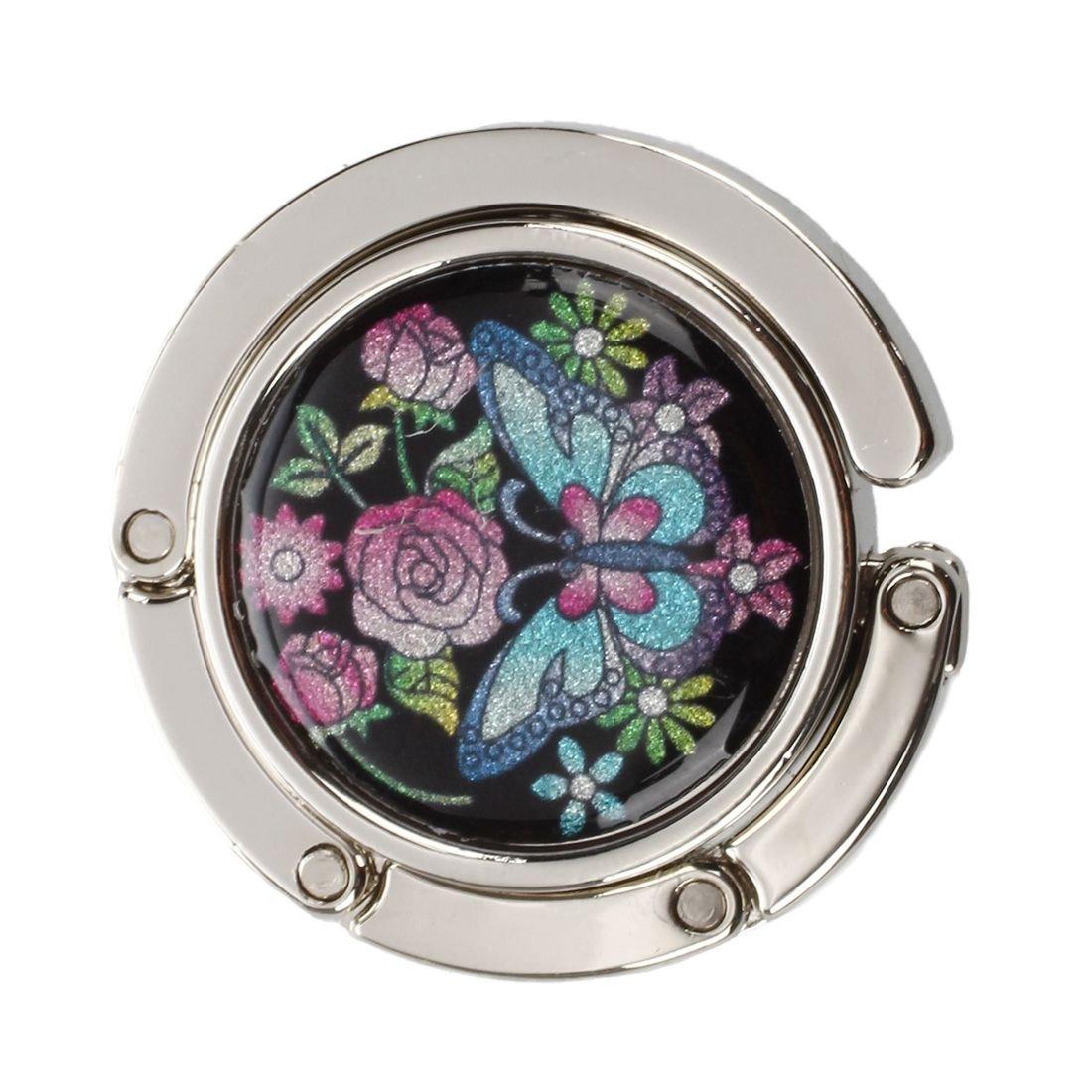 TOOGOO(R) Sac a main pliable avec crochet colore en metal en forme ronde du motif de papillon SHOMAGT11367