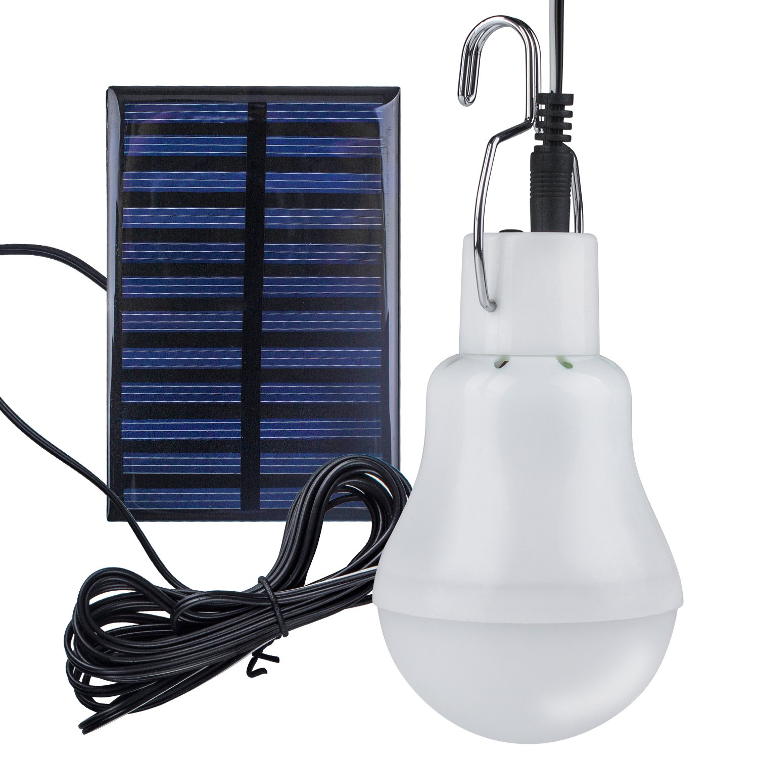 Solar Light Bulb, Beinhome Solar Power LED Light Bulb 3W Rechargeable Battery, 110 LM, 118in Wire with Solar Panel for Camping Outdoor Fishing Garden Patio