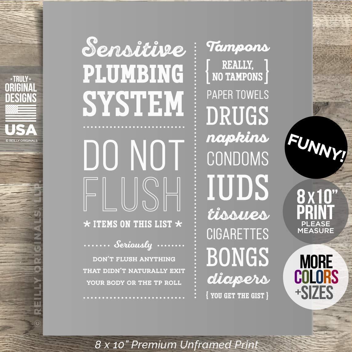 8x10 *UNFRAMED* Funny Bathroom Sign Do Not Flush Sensitive Plumbing Septic System Decor Farmhouse Rustic Home Art Modern Humor No Tampons Feminine Sanitary Product Paper Toilet Drugs Bongs IUD Condom