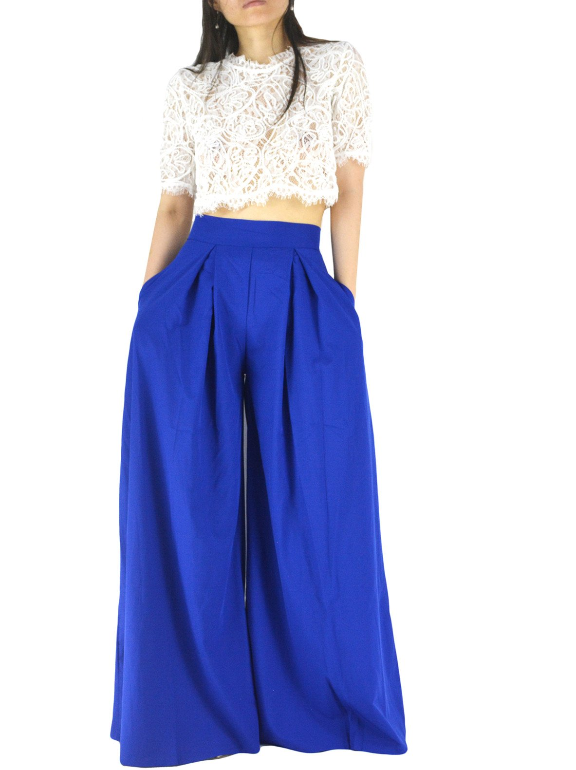 YSJERA Women's Sexy Semi Sheer Short Sleeve Lace Crop Top w/High Waist Palazzo Pants 2 Pieces Jumpsuits