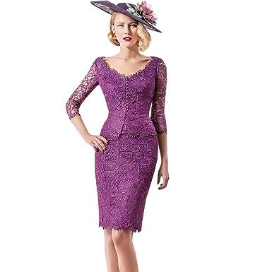Dressvip Bateau Neck 3 4 Sleeves Purple Lace Dress Suit Knee Long