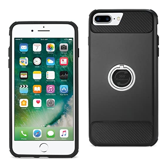 brand new b5ebd a0809 Amazon.com: Reiko Cell Phone Case for Apple iPhone 7 Plus - Black ...