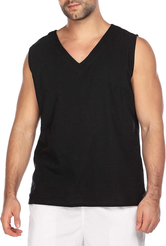 Taoliyuan Mens Sleeveless Shirt Beach Tank Tops Hippie Cotton Summer Casual Lace up V Neck Blouse