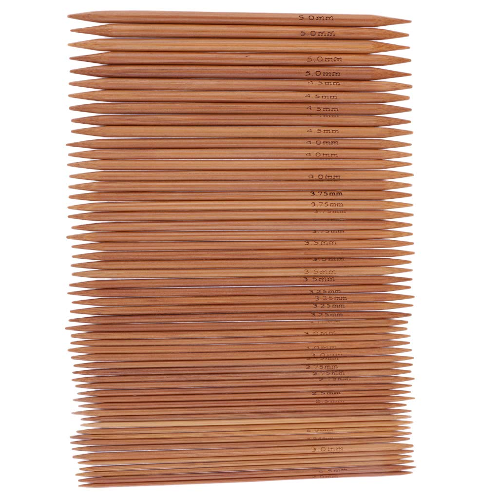 D DOLITY 55 Pieces 13cm/5inch Double Pointed Knitting Needle Kit Carbonized Bamboo Knit Needles
