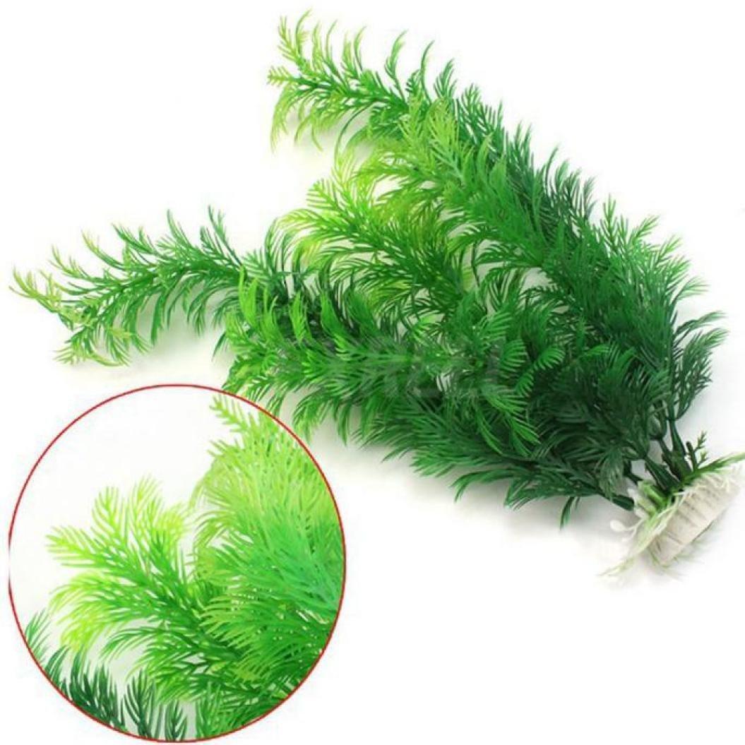 Gbell 1Pcs Artificial Aquarium Plastic Long Leaf Plants with Ceramic Base, Large Green Lifelike Underwater Plant Aquarium Fish Tank Ornament Decorations,Non-Toxic Safe,30CM (Green)