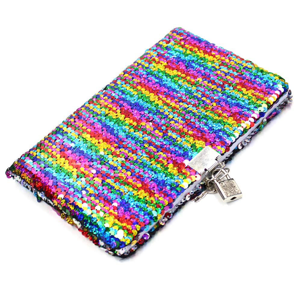 Mermaid Reversible Sequin Journal Md trade Rainbow//Silver Magic SequinTravel Journal Notebook Gift for Adults and Kids Sequin Notebook with Lock