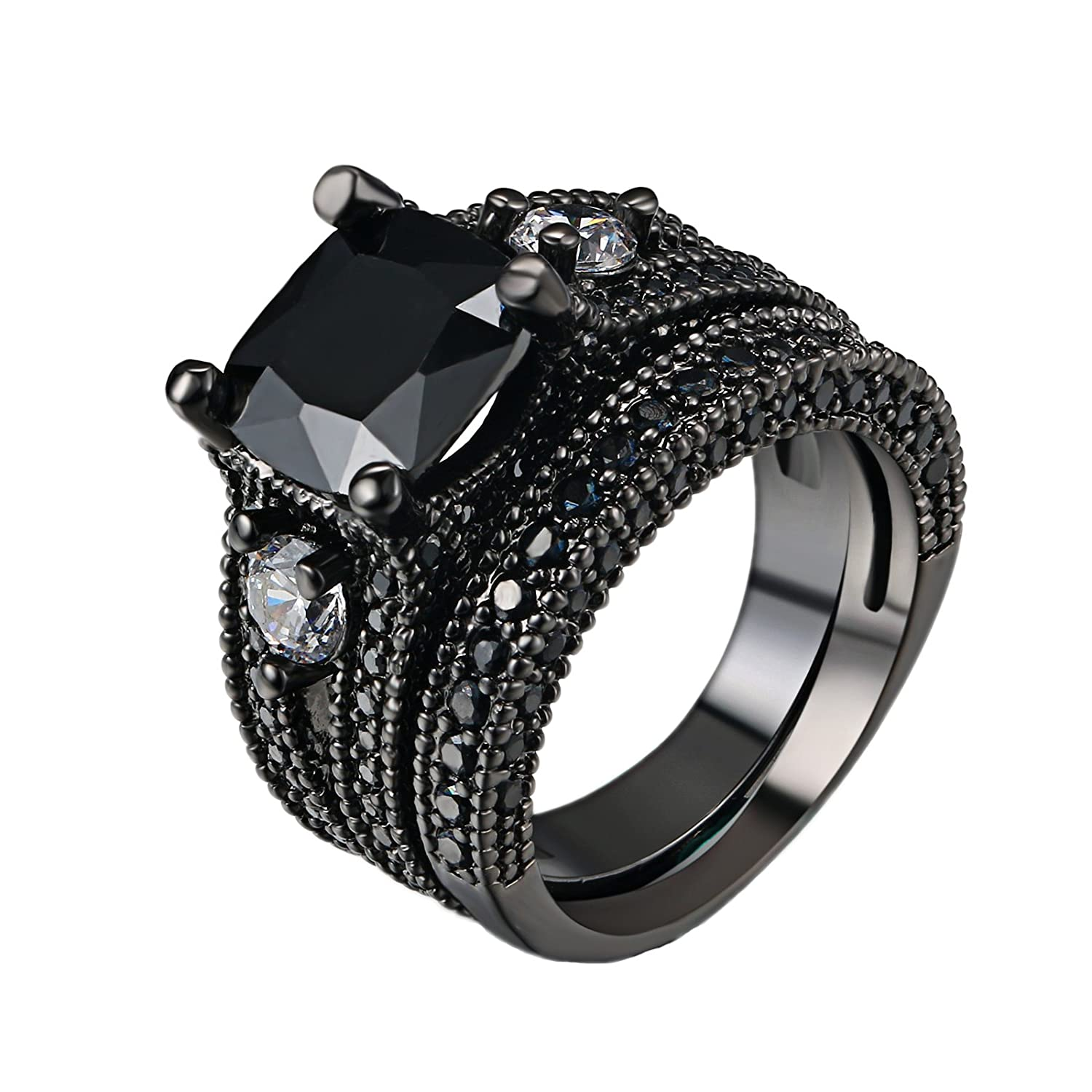 D.B.MOOD 2 PCS Cushion Cut Split Shank Black CZ Cubic Zirconia Diamond Halo Bridal Ring Set DBM-CA013