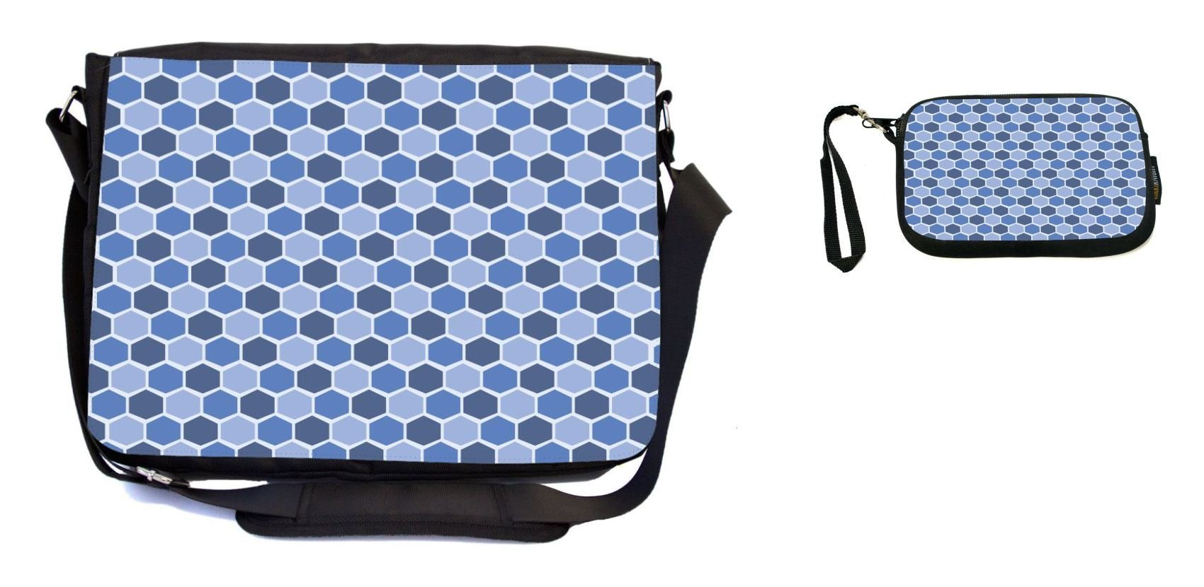 Rikki Knight Monaco Blue Teal Blue Shades Stained Glass Design Messenger Bag - School Bag - Laptop Bag - with Padded Insert - Includes UKBK Premium Coin Purse