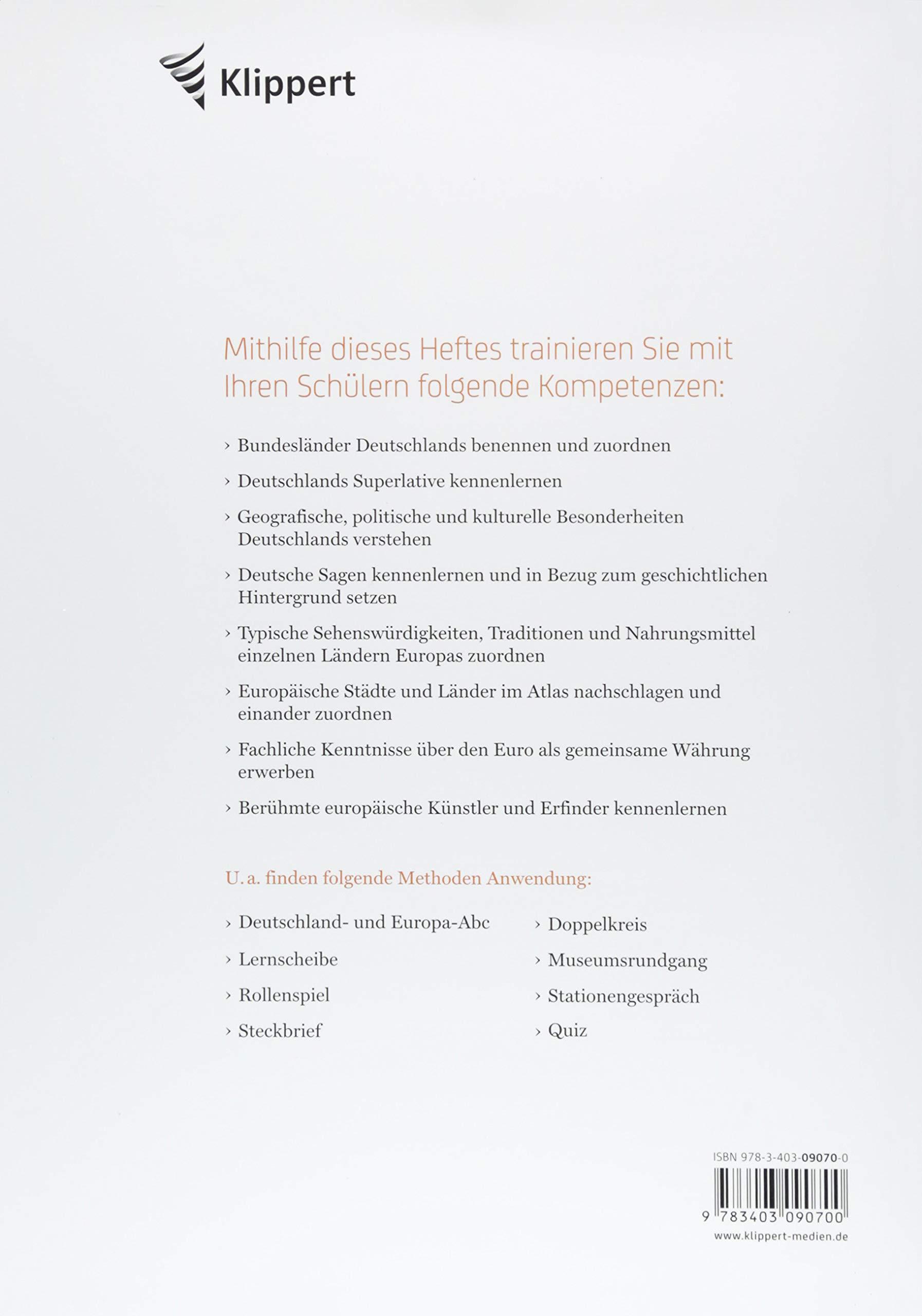 Deutschland - Europa: Sachunterricht 3/4. Kopiervorlagen 3. und 4 ...