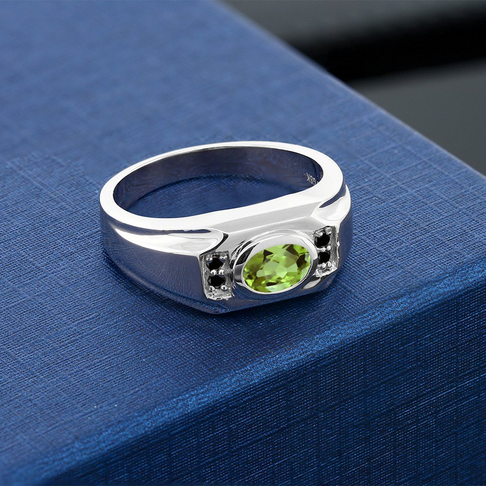 Gem Stone King 1.46 Ct Oval Green Peridot Black Diamond 925 Sterling Silver Mens Ring