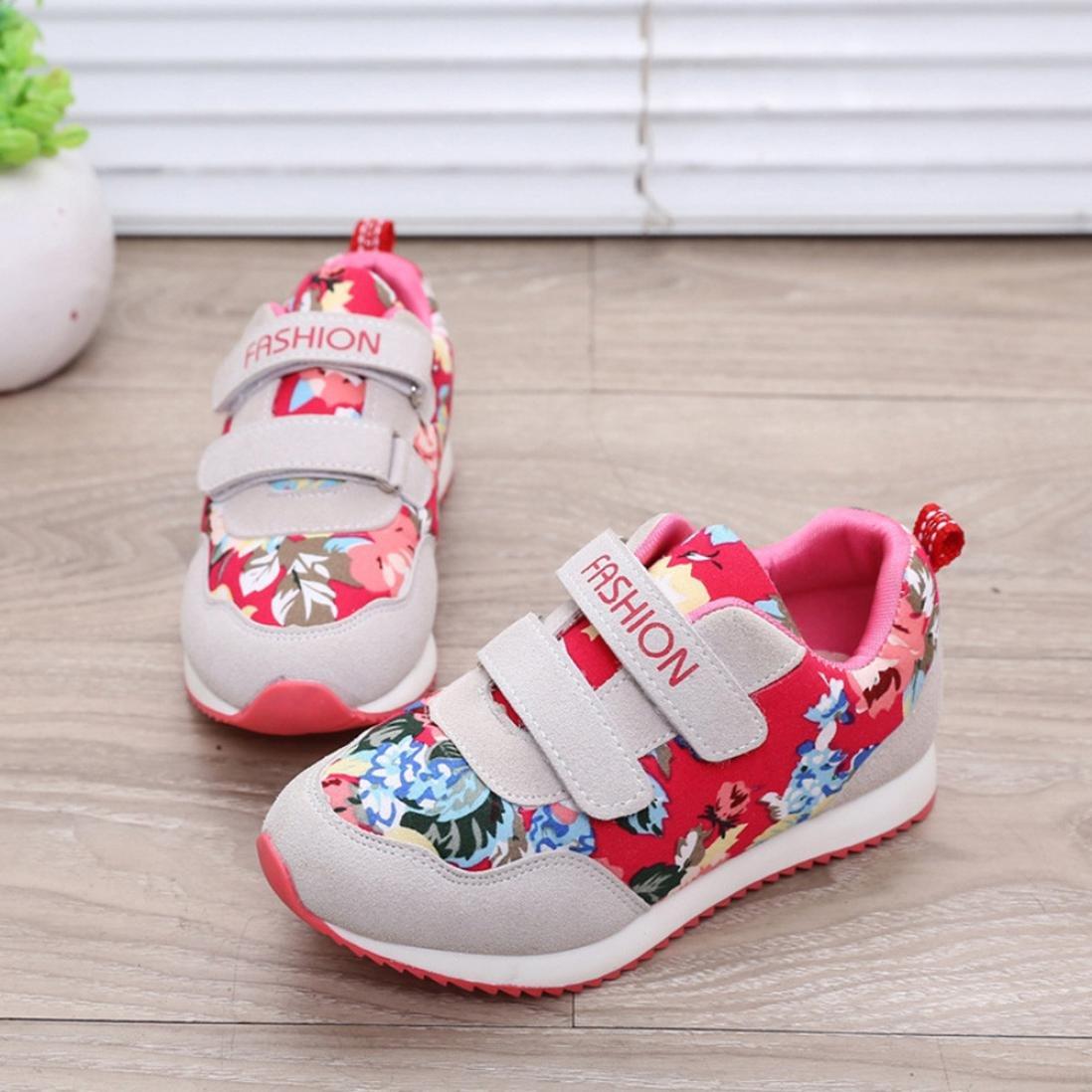 Voberry@ Kids Girls Flower Print Sneaker Lightweight Dual Strap Rubber Sole Sport Running Shoe