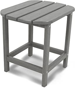 "POLYWOOD SBT18GY South Beach 18"" Outdoor Side Table, Slate Grey"