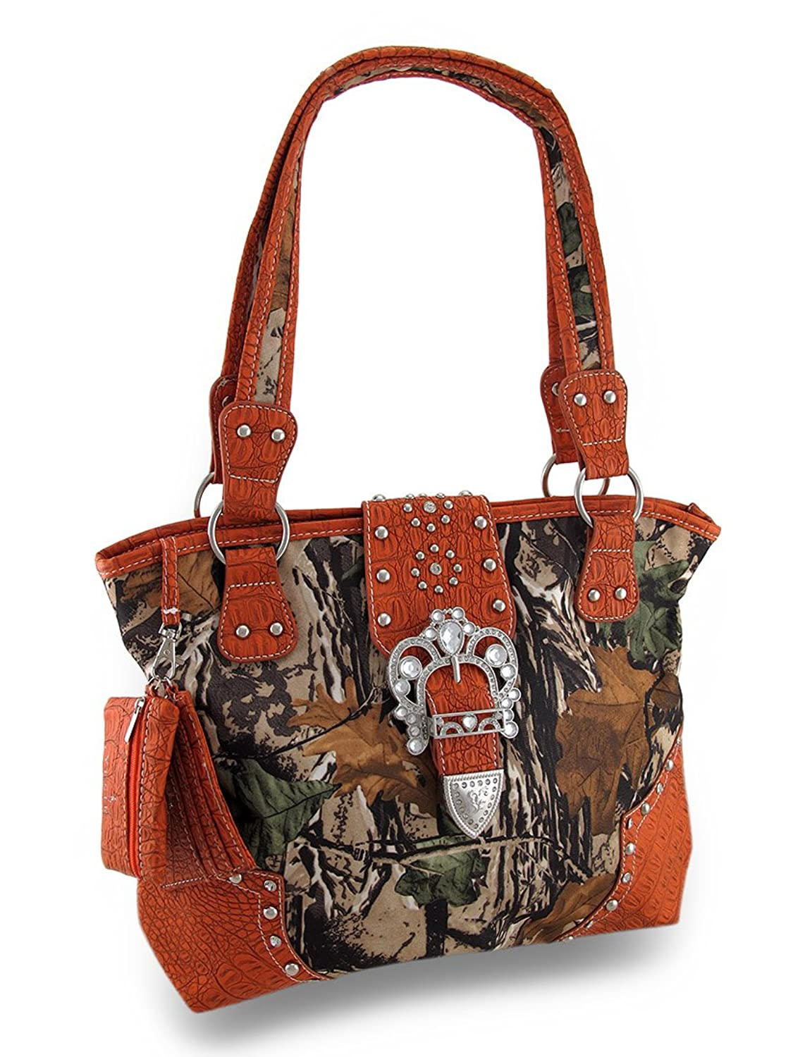Over Sized Forest Camo Rhinestone Western Buckle Concealed Carry Purse