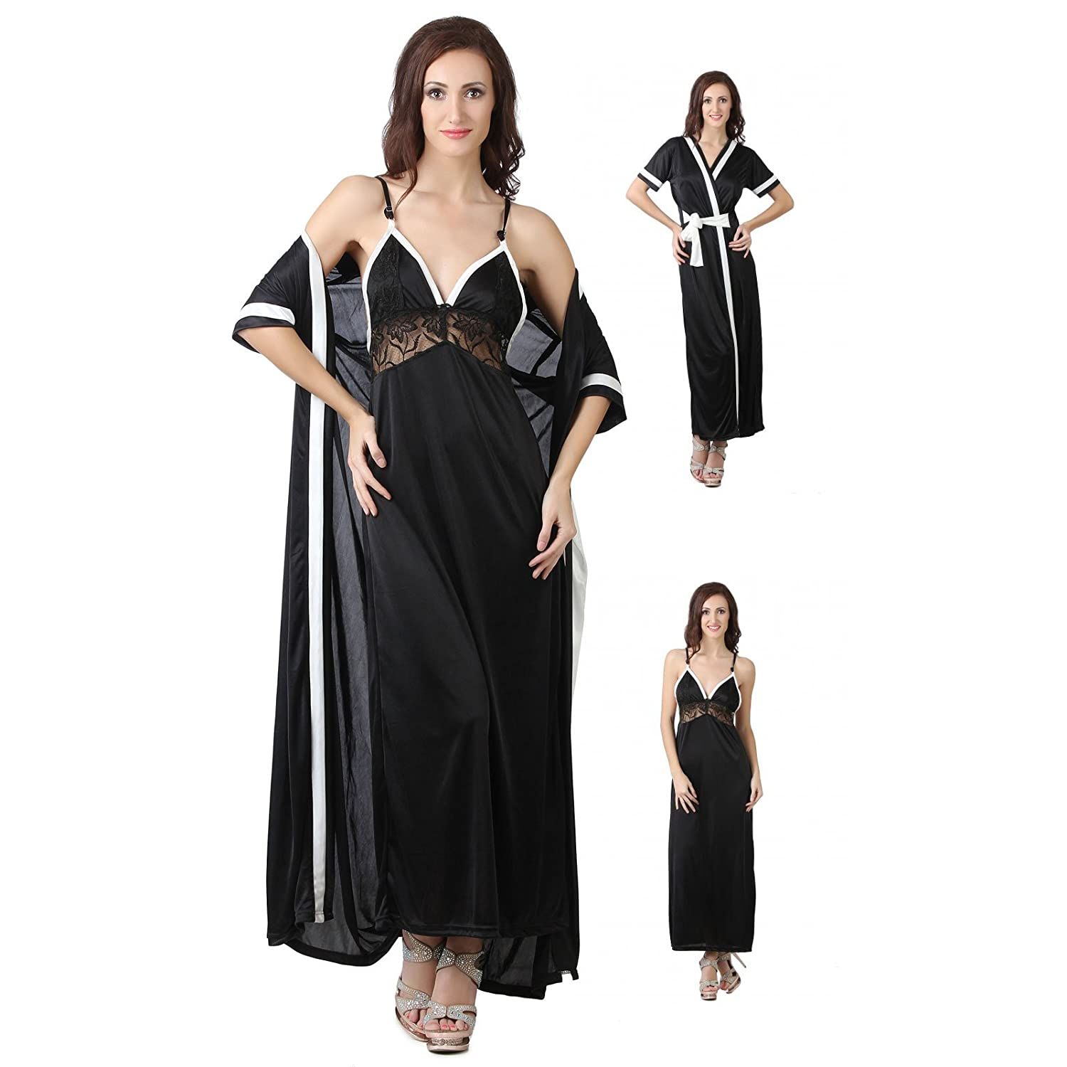 Ladies Satin Nightie Womens Designer Dressing Gown Robe Nightwear ...