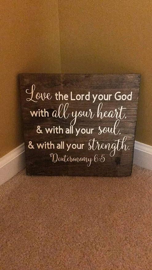 Amazon.com: Rfy9u7 Deuteronomía 6:5, señal de Versión de ...