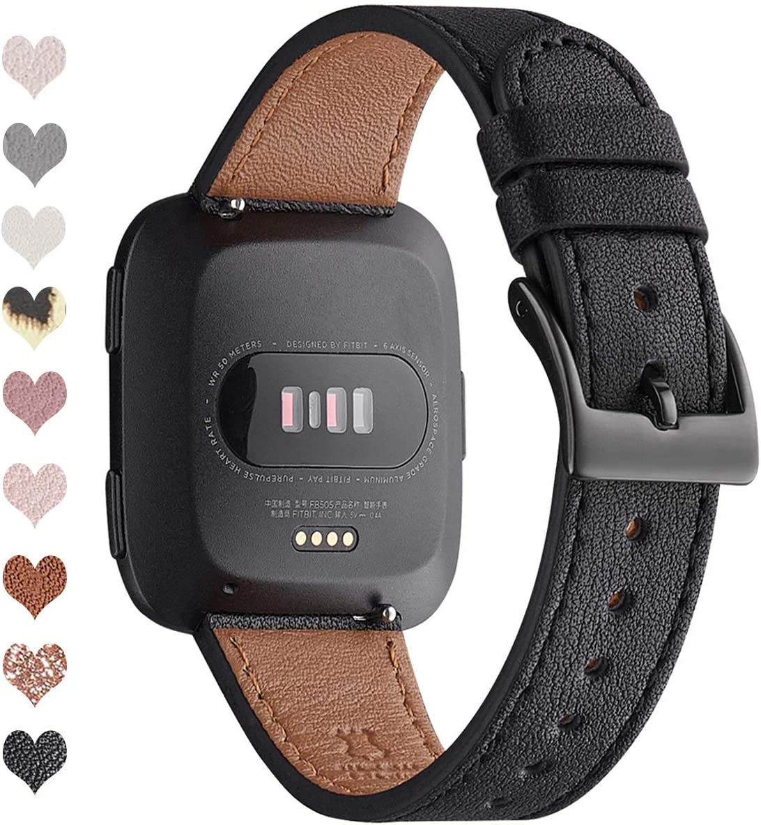 OMIU Bands Compatible with Fitbit Versa/Versa 2/Versa Lite/Versa SE for Women and Men, Classic Soft Leather Strap Replacement Wristband for Fitbit Versa Smart Fitness Watch (Black/Black)