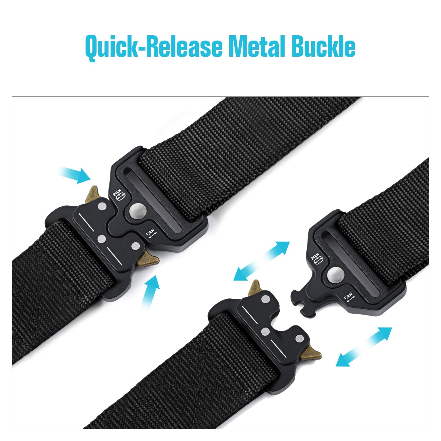 Barbarians Tactical Belt for Men 1.5 Inch Heavy-Duty Webbing Belt Adjustable Military Style Nylon Belts with Metal Buckle /& Key Buckle
