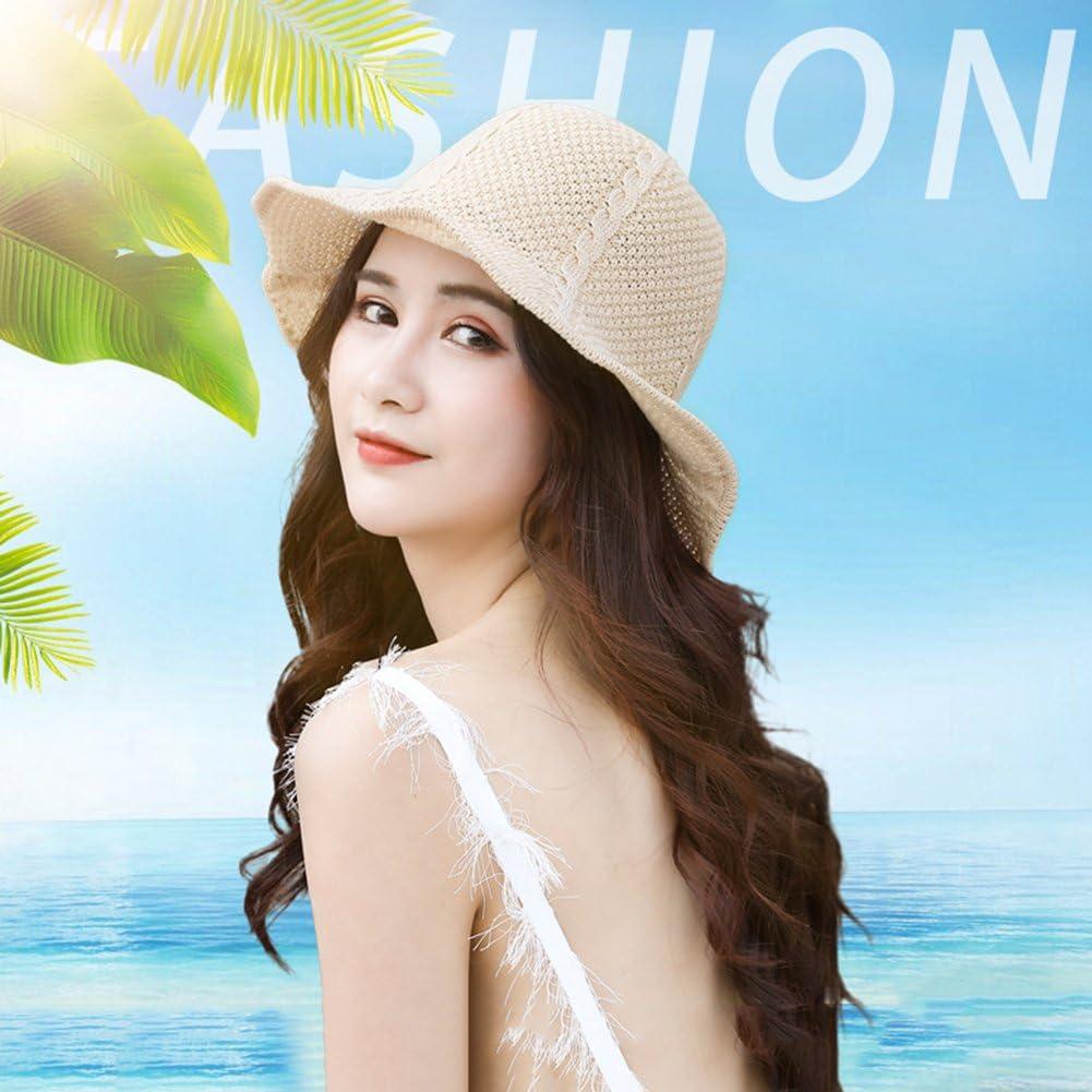 ink2055 Fashion Hats Wide Brim Knitting Beach Sun Hat Breathable Foldable Women Ladies Bucket Cap