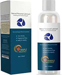 Water Based Lubricant for Sensitive Skin 4OZ - Women and Men - Pure Food Grade Ingredients with Aloe Vera and Carrageenan - Paraben Free for Couples - USA Made By Maple Holistics