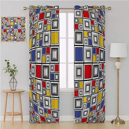 Benmo House Cortina geométrica con grummet para puerta corredera, aislante, diseño geométrico, estilo artístico, moderno, colorido, mosaico de cuadrados, cortinas de ventana de 96 x 96 pulgadas, multicolor: Amazon.es: Hogar